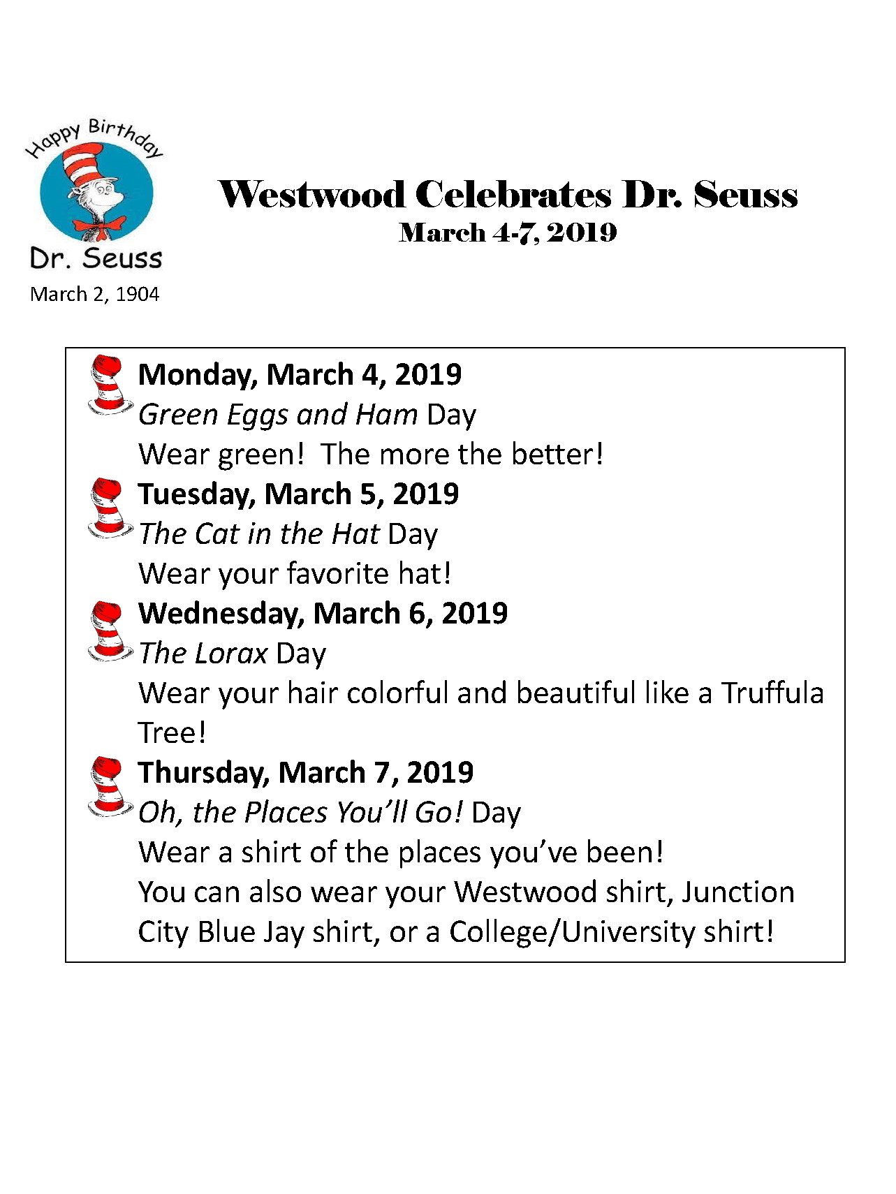 Image of the flyer announcing Westwood's Dr. Seuss activities.