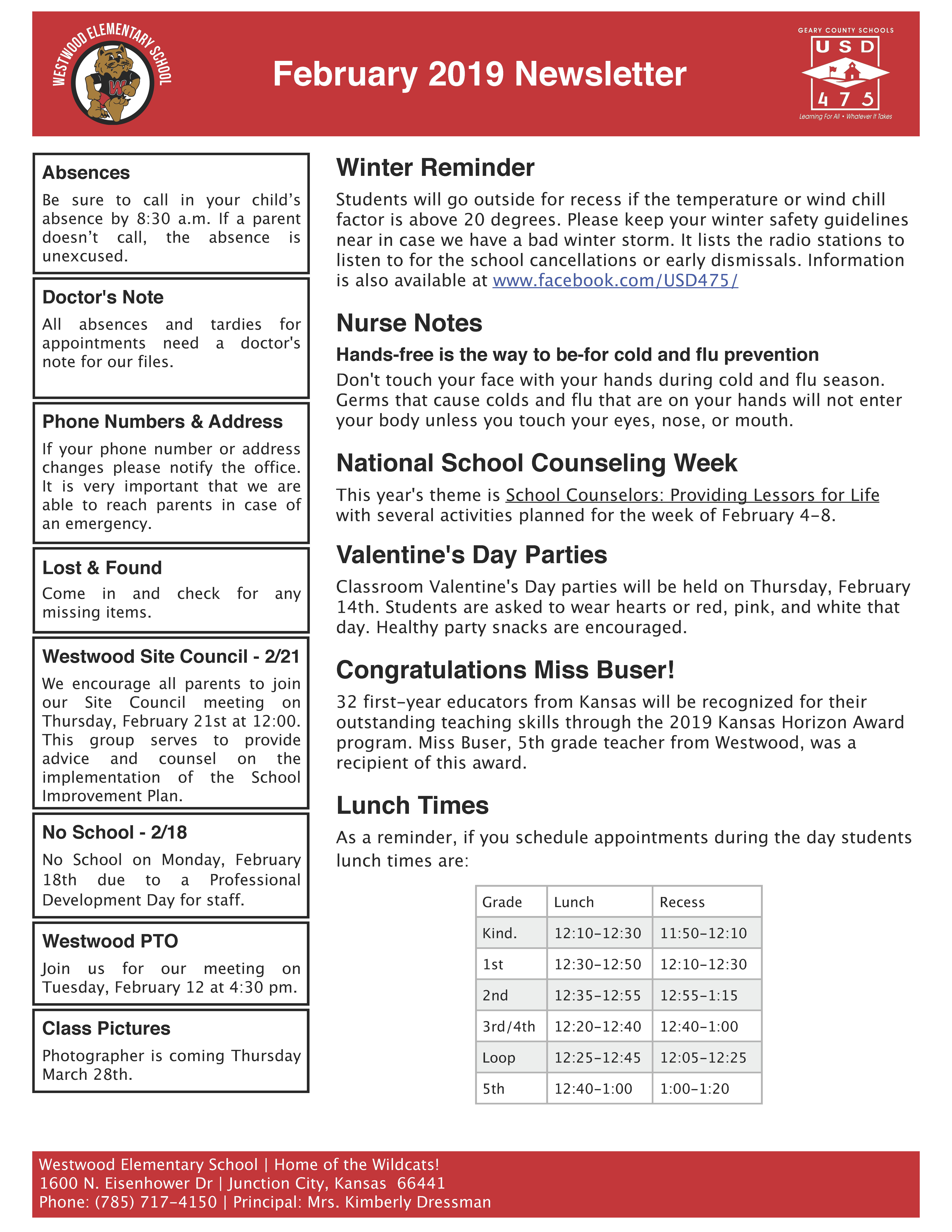 Picture of Westwood Elementary's February 2019 Newsletter