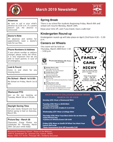 Image of Westwood Elementary's March 2019 Newsletter