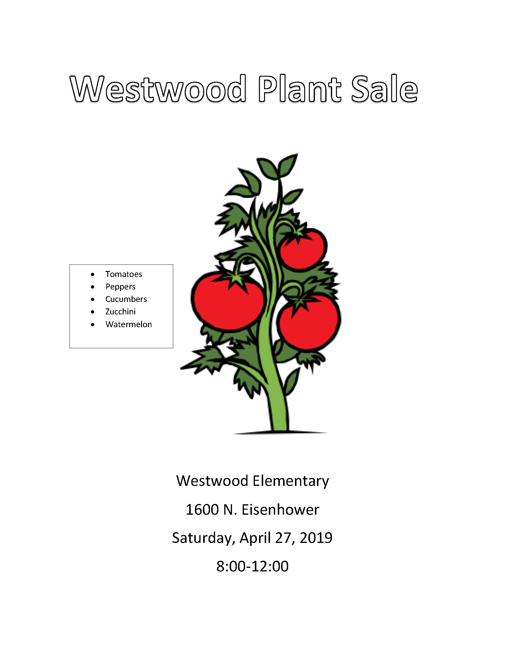 Image of the Westwood Elementary Plant Sale flyer