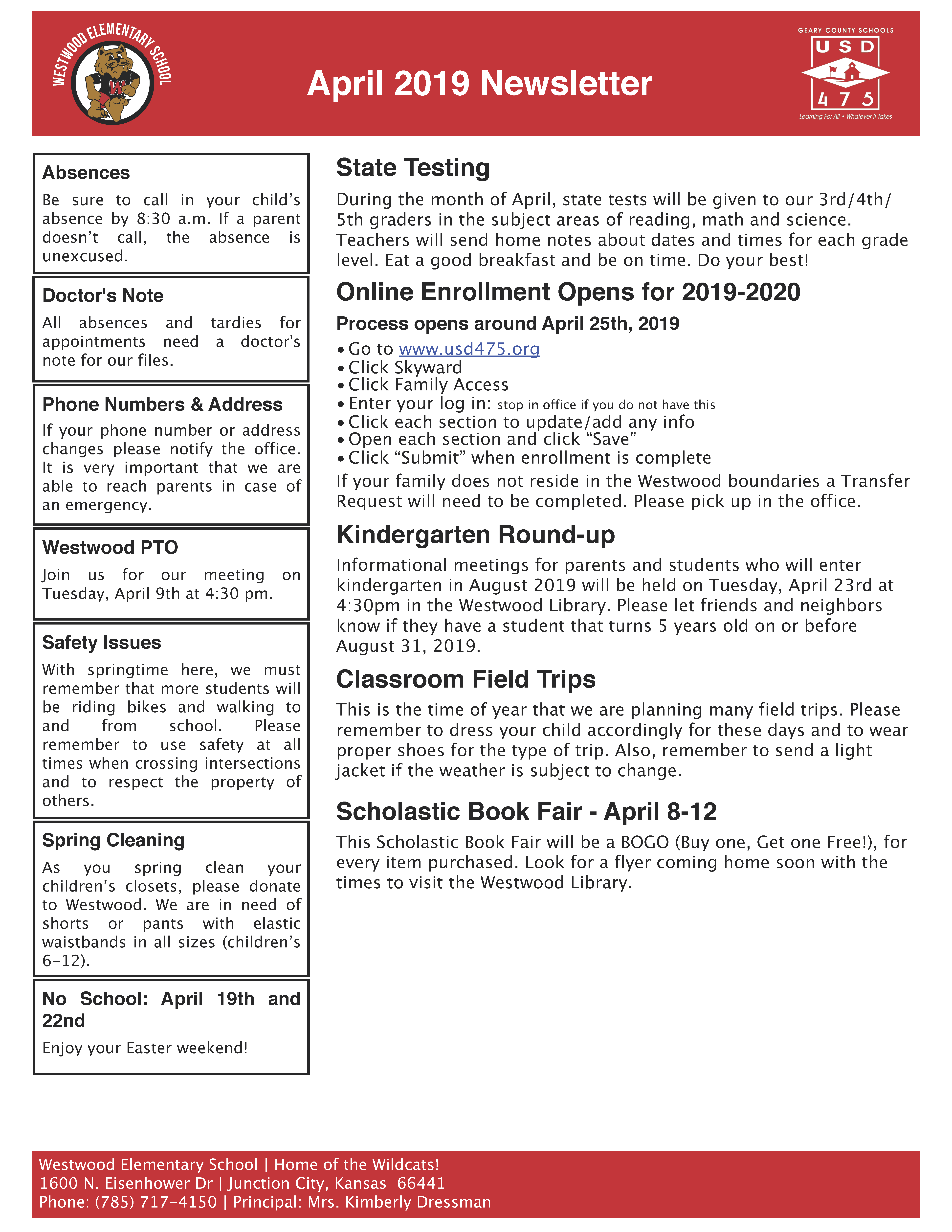 Image of Westwood Elementary's April 2019 Newsletter