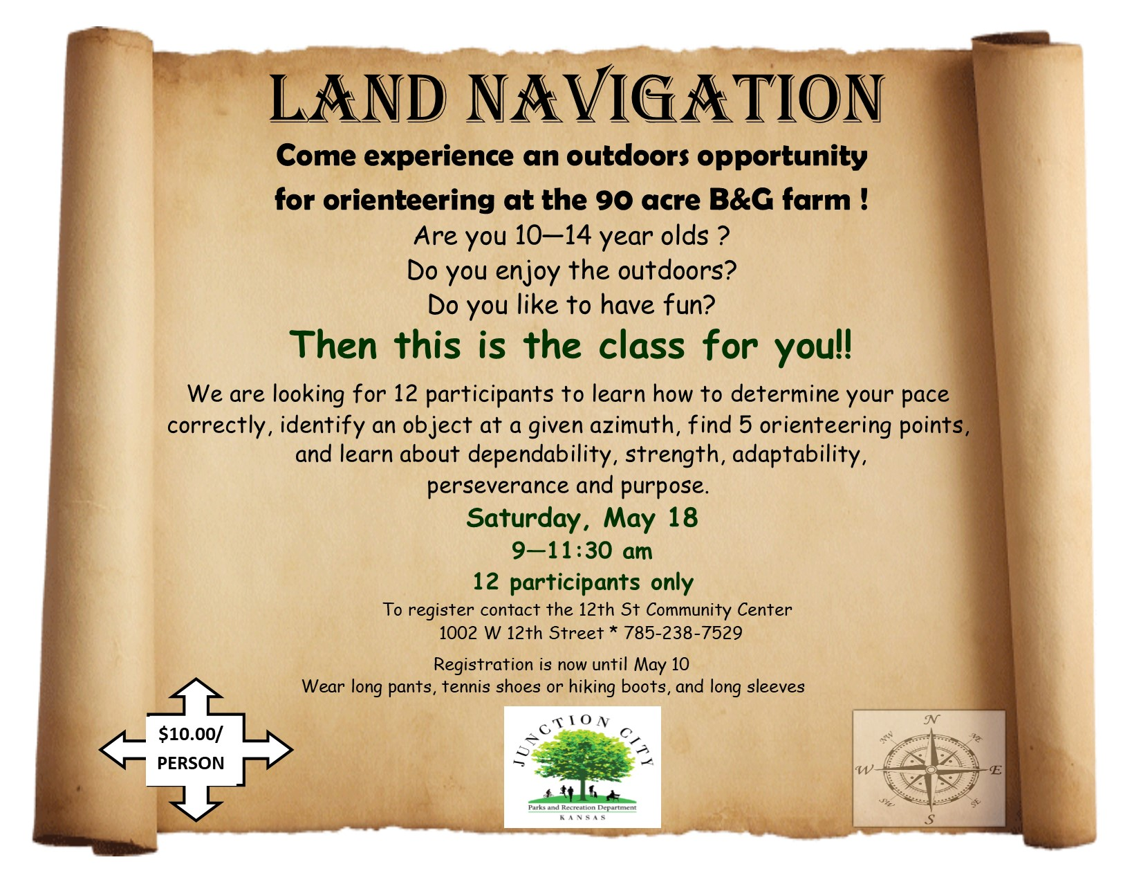 12th Street Community Center Land Navigation flyer