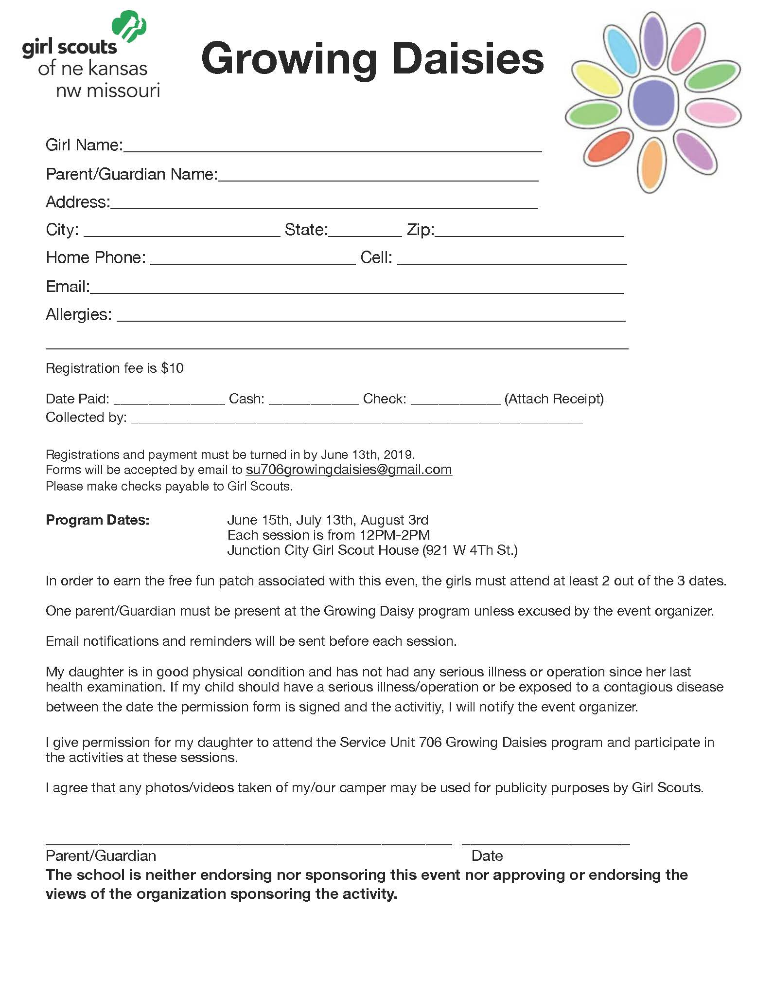 Growing Daisies Registration Form