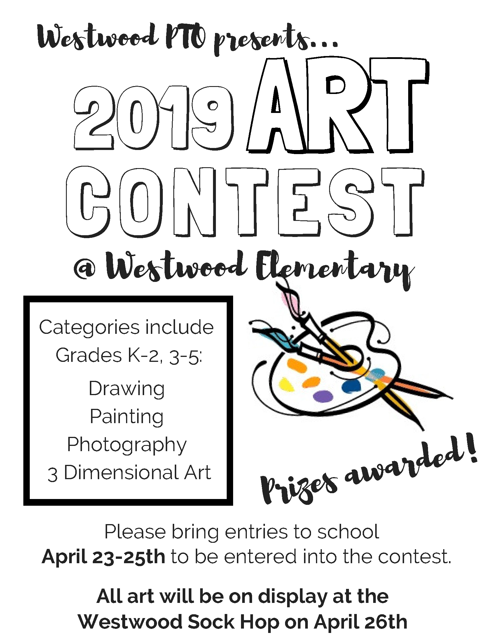 Westwood PTO 2019 Art Contest Flyer