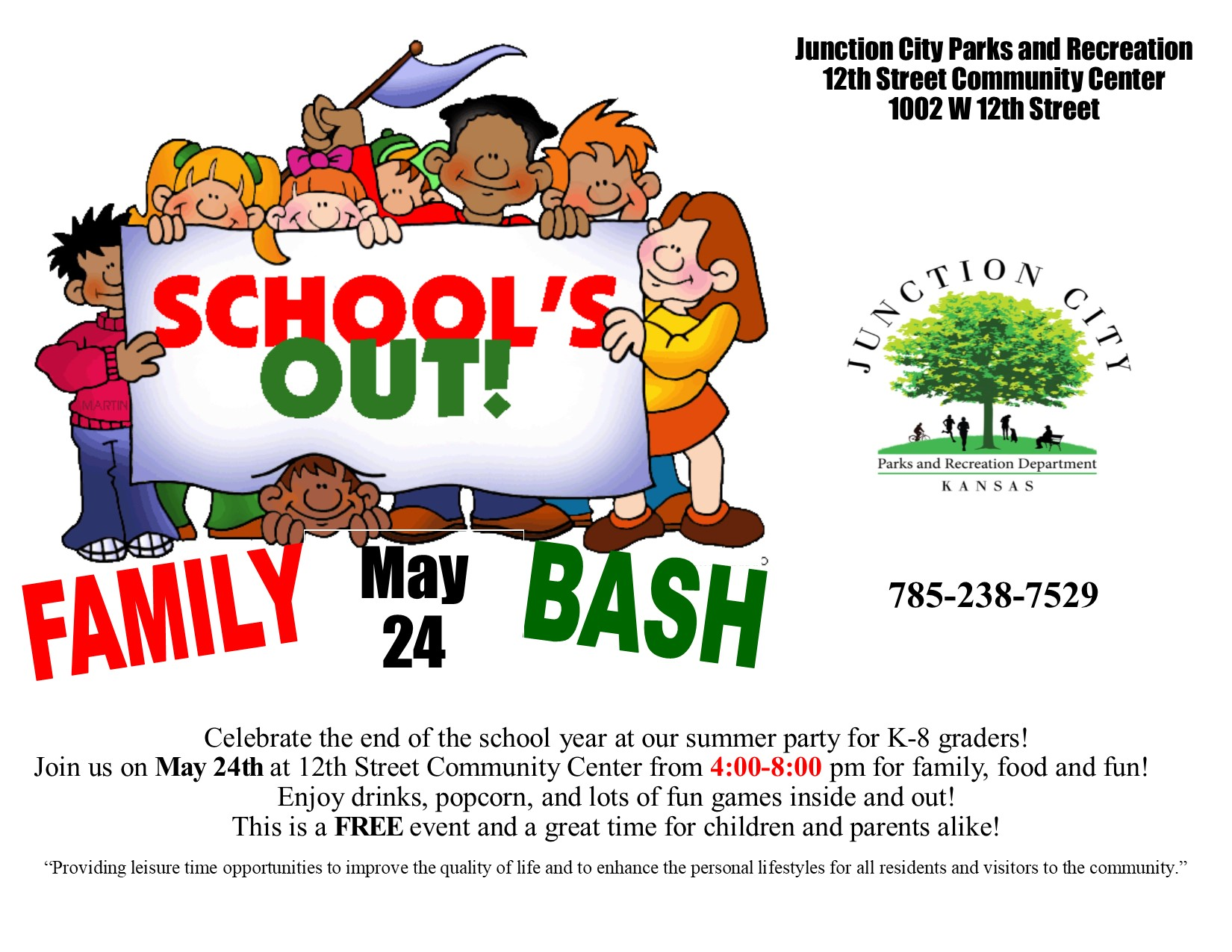 12th Street Community Center School's Out!  Family Bash flyer