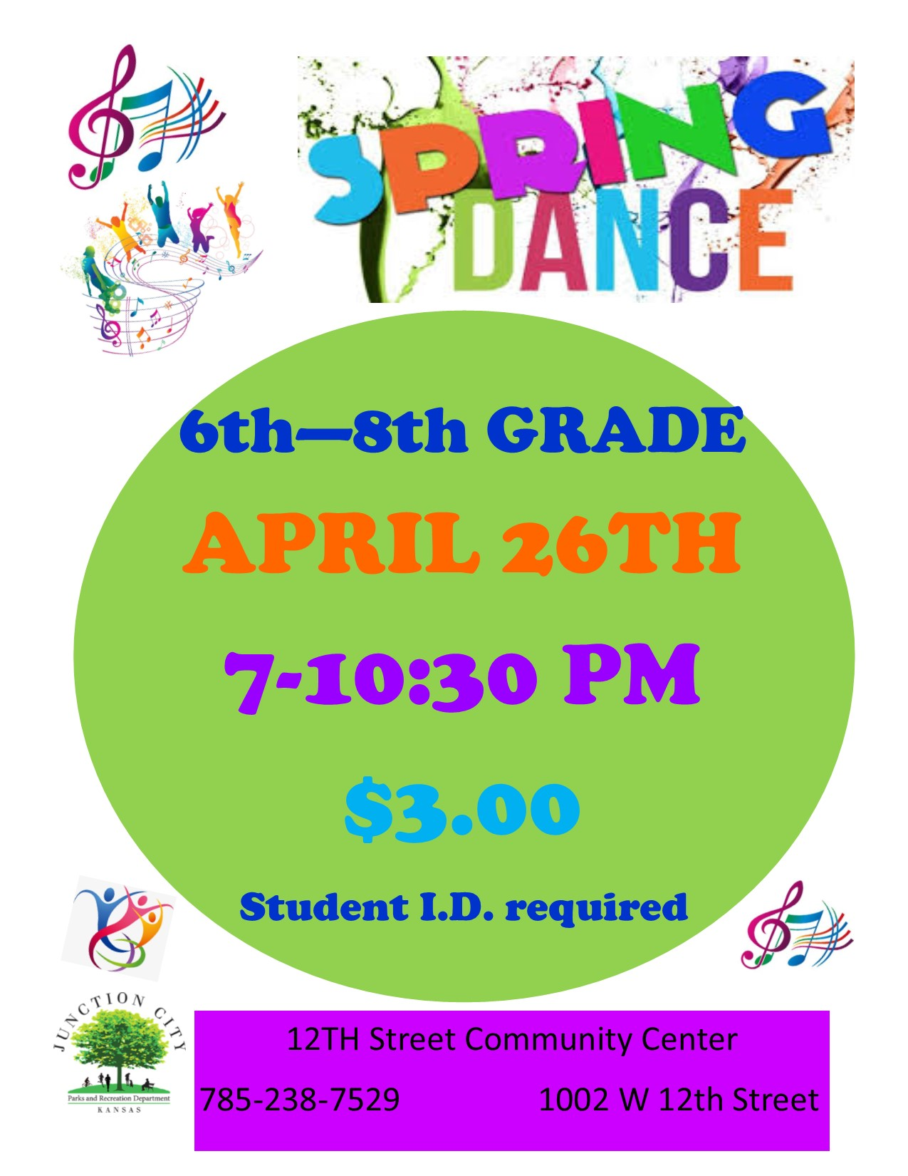 12th Street Community Center 6th-8th Grade Spring Dance Flyer