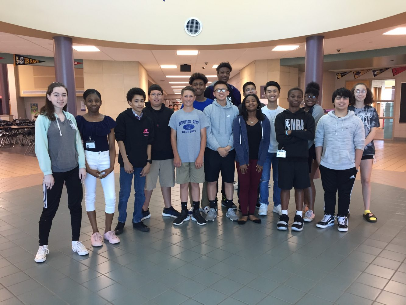 Junction City Middle School students who are mentors to incoming 6th graders