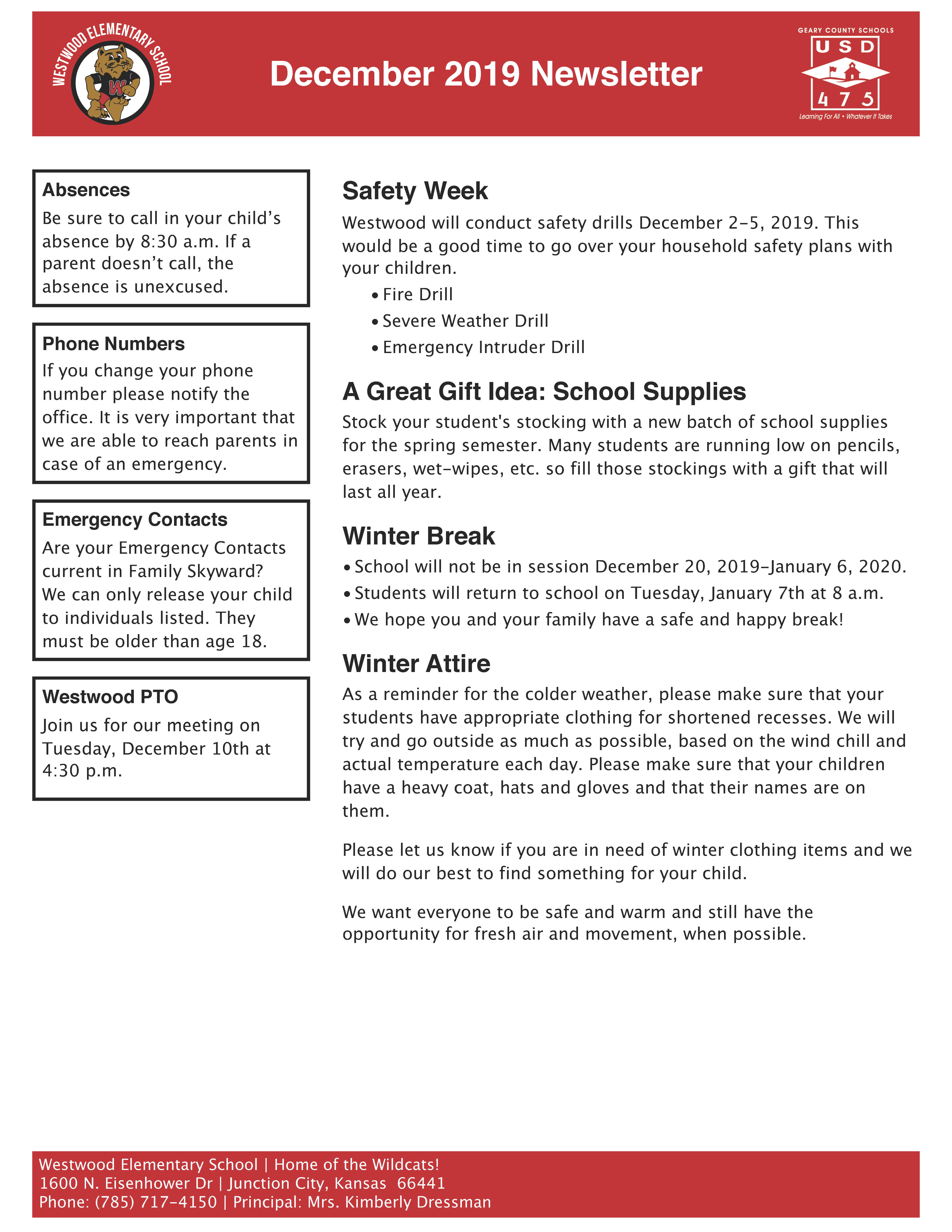 Image of Westwood Elementary's December 2019 Newsletter