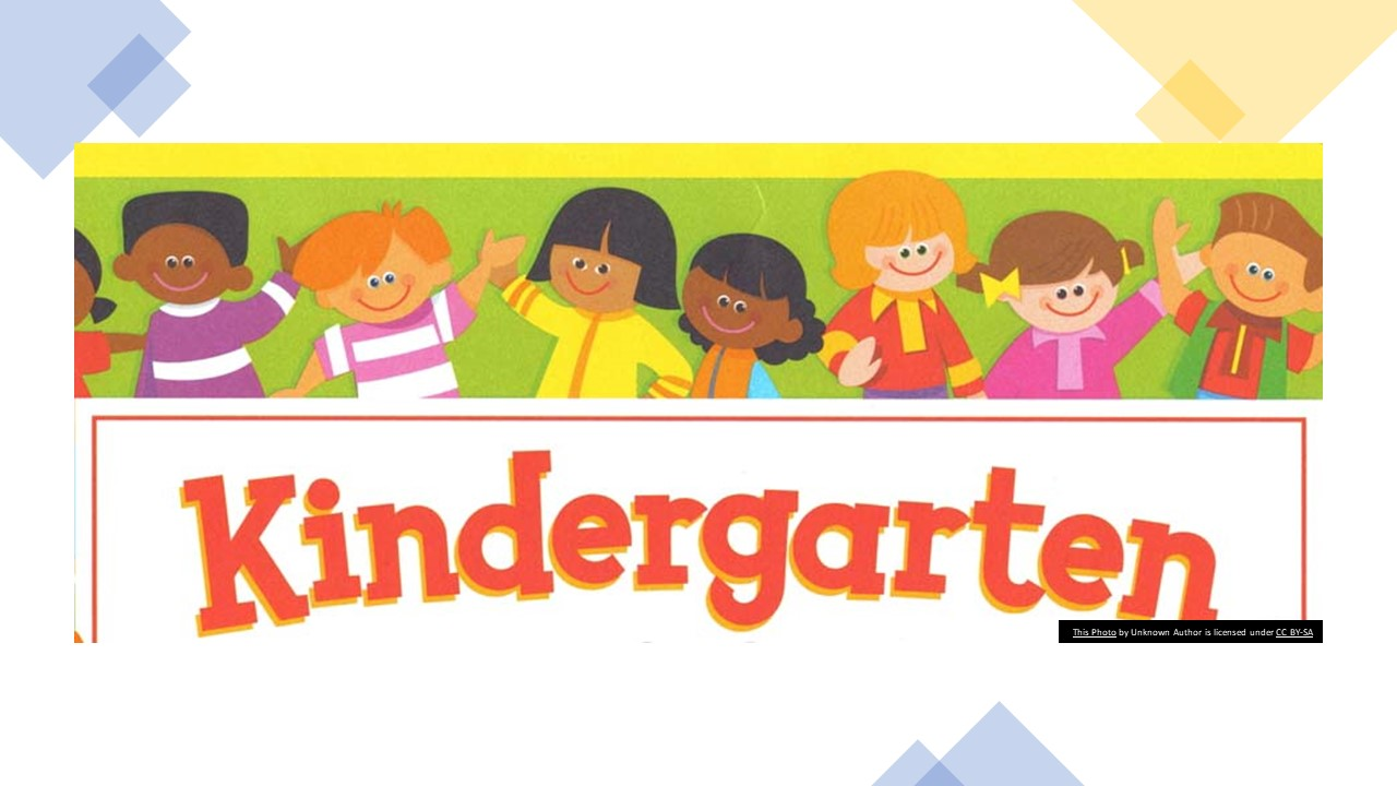 Clip art of young kids with the word Kindergarten underneath.