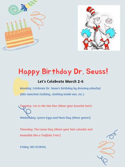 Poster with the activities for celebrating Dr. Seuss during the week of March 2-6, 2020