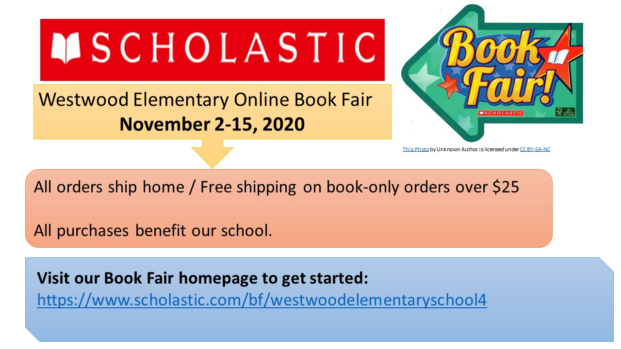Advertisement for the Scholastic Online Book Fair at Westwood Elementary.