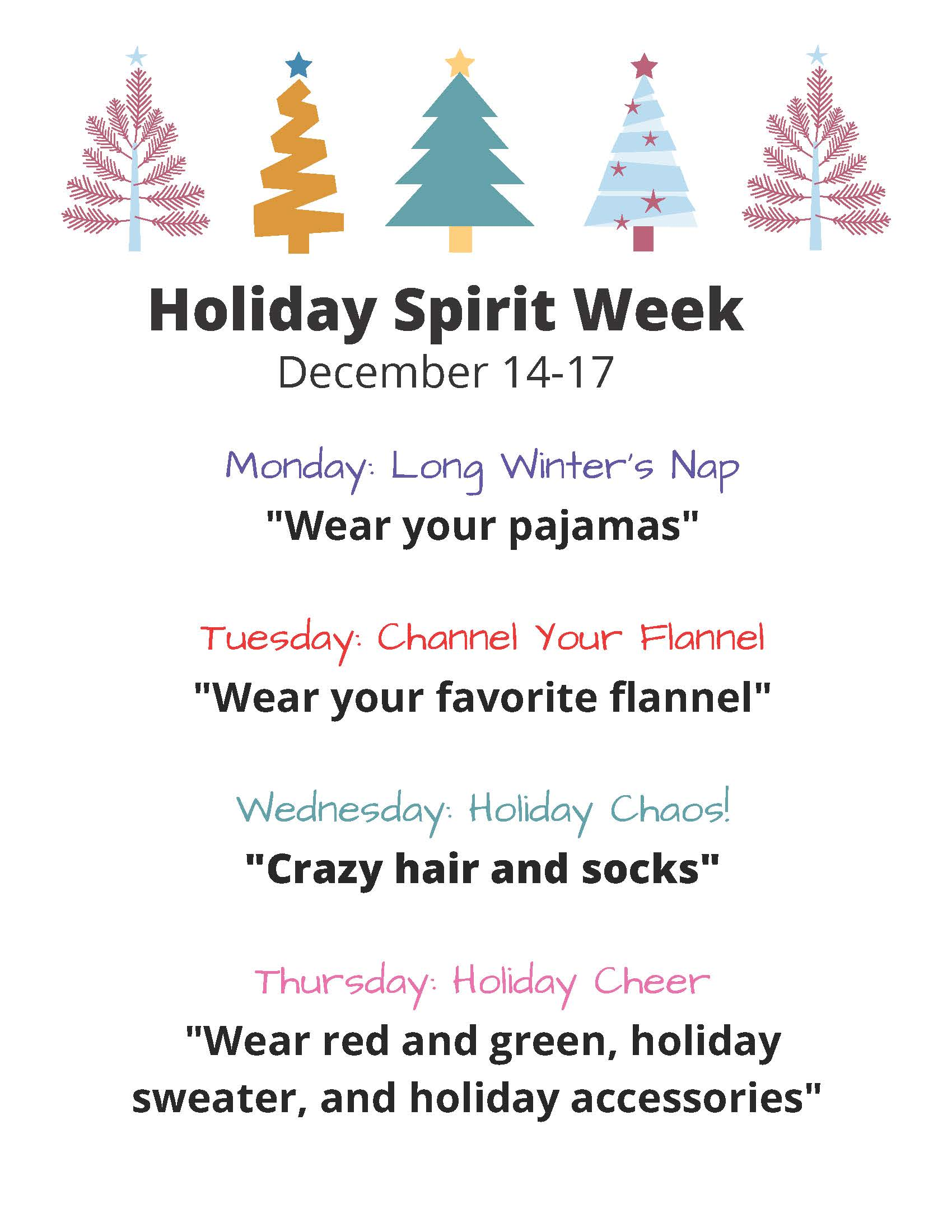 Photo of the Holiday Spirit Week flyer for Westwood Elementary