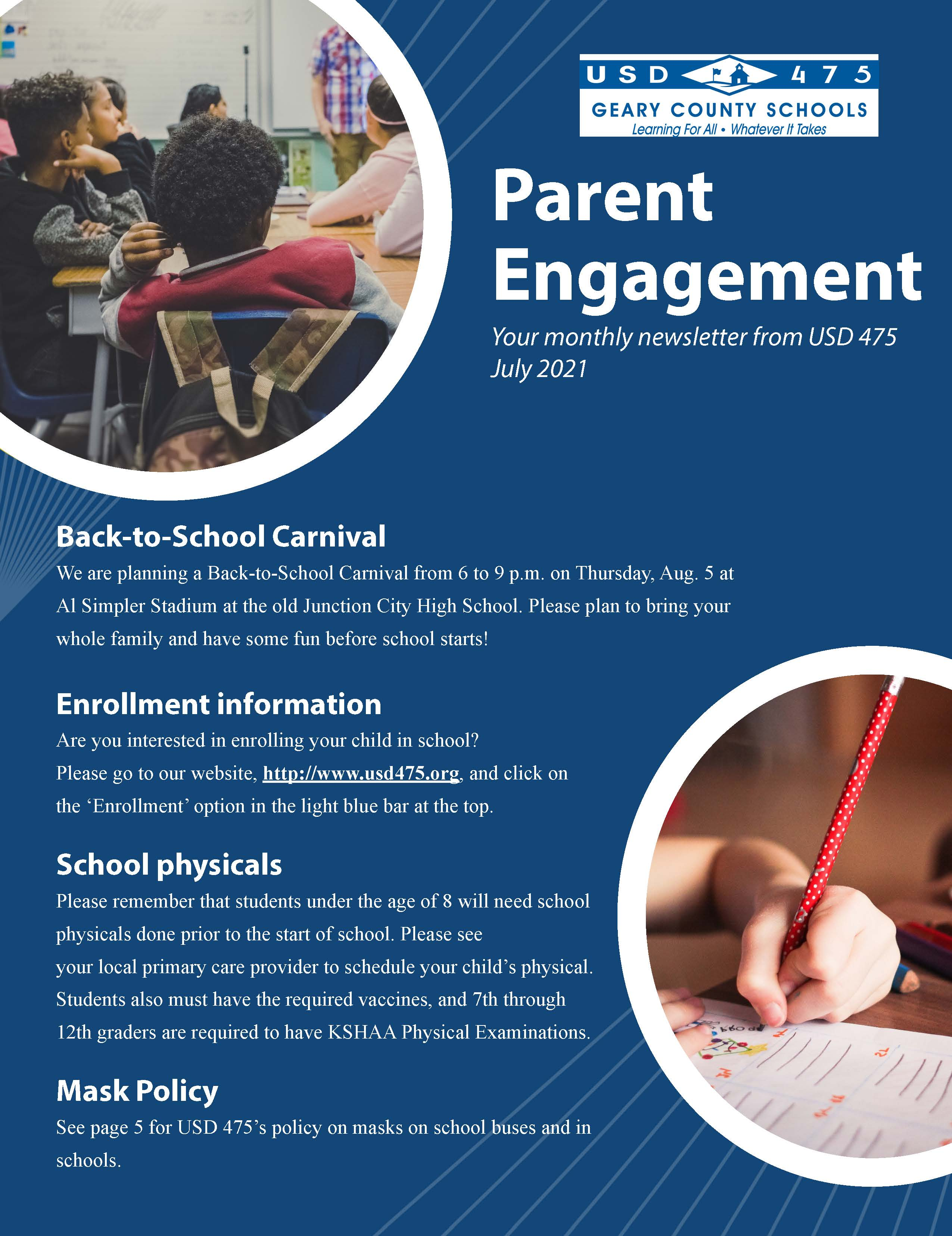 USD 475 Parent Engagement Newsletter Page 1 in English